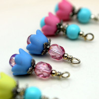 3 Pair of Baby Bell Lucite Flower Bead Dangle Charm Drop Sets In Pink and Blue and Yellow with Blue