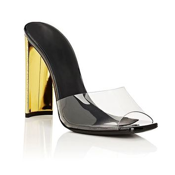 Barely There Patent Leather PVC Mule