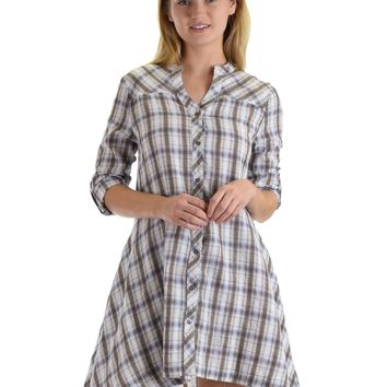 SL4276 White 3/4 Sleeve Plaid Dress With Button Front And Roll-Up Sleeves