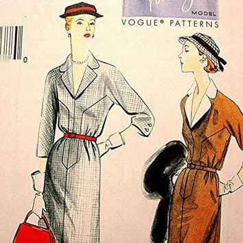 50s Dress Pattern Womens Retro Vintage 1950s Vogue Model Designer Dessin Dress size 6 8 10 12 14  UNCUT Dress, belt and detachable collar