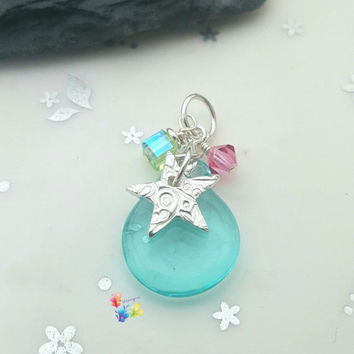Aqua Splash Star Pendant, Sterling Silver