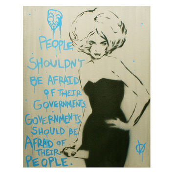 LADY SPRAY V for Vendetta Version 11x14 Graffiti and Pop Art Political Propoganda on Canvas