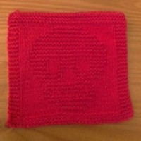 Ravishing Red Hand Knitted Cotton Skull Dish Cloth or Wash Cloth