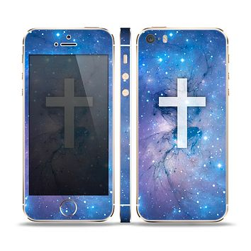The Vector White Cross v2 over Purple Nebula Skin Set for the Apple iPhone 5s