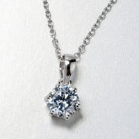 Solitaire Diamond Pendant 6 claws - Diamond Faceted (CZ) Diamond Necklace Six-prong Settings