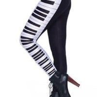 Women Fashion Black Piano Keyboard Skinny Leggings Slim Pants Stretch Trouser