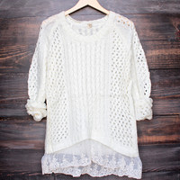 falling in love gauze open knit sweater with lace hem in ivory