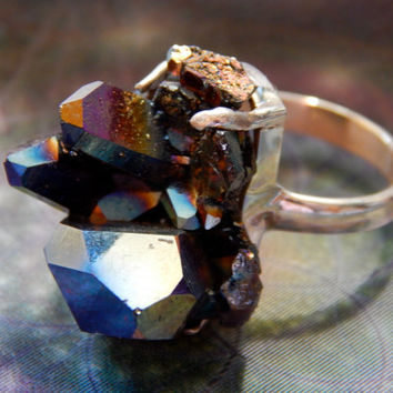 Titanium (Rainbow) Aura Quartz statement ring, Huge organic quartz crystal, Sterling Silver Size 8