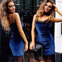 Fashion Lace Stitching Velvet V-Neck Backless Sleeveless Strap Mini Dress