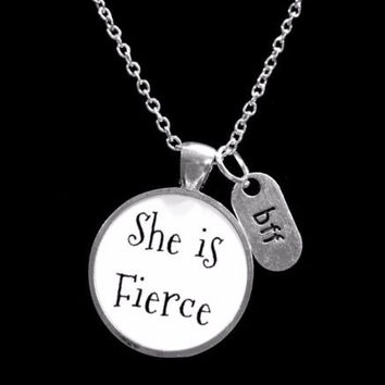 She Is Fierce BFF Inspirational Best Friends Gift Necklace