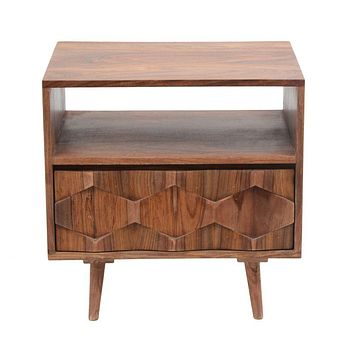 Orianne Mid Century Sheesham Wood Nightstand