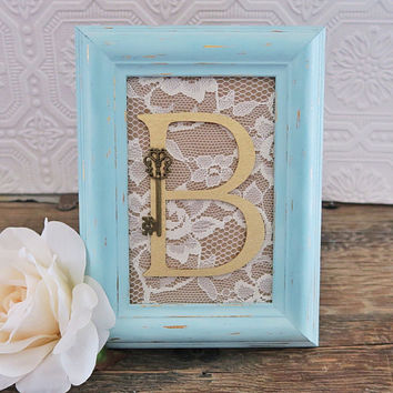 Girl Baby Shower Decorations Gold and Aquamarine Framed Letters Shabby Chic Nursery Decor