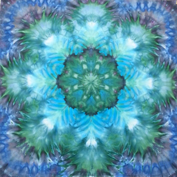 mandala tie dye tapestry wall hanging blue green turquoise purple