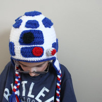 Droid Hat, R2D2 Hat for kids, Star Wars inspired crochet droid Hat, halloween costume, Sizes 5t to preteen