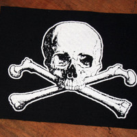 Skull and cross bones sew on patch - pirate patch, sea punk patch, skull patch, horror patch, poison patch, skeleton patch deaths head patch