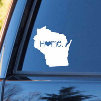 Wisconsin Home Decal | Wisconsin Decal | Homestate Decals | Love Sticker | Love Decal  | Country Decal | Car Decal | Car Stickers | 089