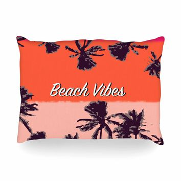 "Mukta Lata Barua ""Beach Vibes"" Coral Pink Holiday Nature Digital Illustration Oblong Pillow"
