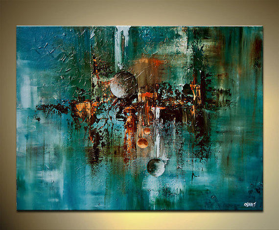 Abstract art teal turquoise painting from osnatfineart on etsy for Where to buy canvas art