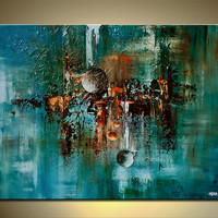 "Abstract Art Teal Turquoise Painting Large Contemporary Paintings on Canvas Textured Art by OSNAT 48""x36"""