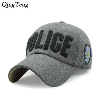 Trendy Winter Jacket Wool Baseball Caps POLICE Letter Embroidery Snapback Hats Female Autumn Fashion Swag Casquette Man Women Bone Polo Hat Gorras AT_92_12