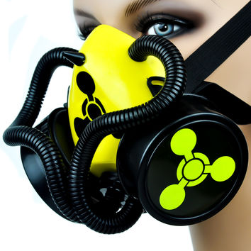 Chemical Weapons Sign / Tubes Single Respirator Gas Mask