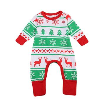 Christmas Toddler Infant Baby Girls Boy Clothes Long Sleeve Warm Romper Jumpsuit Playsuit Outfit Set