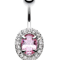 Grand Sparkle Prong Glass-Gem Belly Button Ring