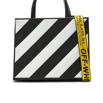 OFF-WHITE Small Diagonal Box Bag in Black & White | FWRD