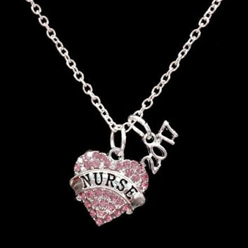 Nurse 2017 Pink Heart Class Of 2017 Graduation Gift Charm Necklace