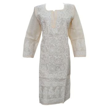 Mogul Womans Indian Tunic Dress Beige Lucknowi Hand Embroidered Festive Caftan Kurti - Walmart.com