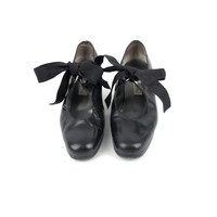 80s 90s Black Mary Jane Heels Leather Ribbon Bow Heels Cut Out School Girl Retro Swing Dance Shoes (7)