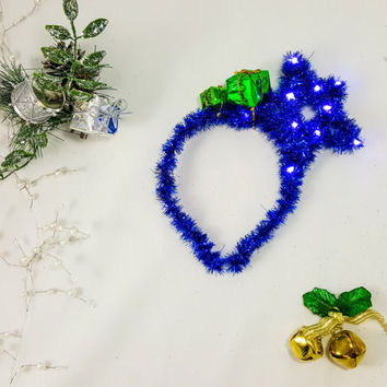 Blue Star Headband, Christmas Headband, X-mas Headband, Holiday LED headband, Star headband, Adult Headband, Christmas Costume