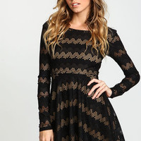 Black Netted Chevron Fit and Flare Dress - LoveCulture