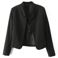 ROMWE Buttonless Sheer Black Blazer