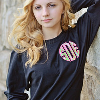 Lilly Pulitzer long sleeve circle monogram t-shirt