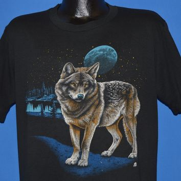 90s Wolf At Night Time t-shirt Large