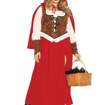 3pc.woodland Red  Riding Hoodhigh Slit Dresswrist Cuffshooded Cape In Red