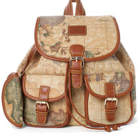 Map Print Backpack Brown