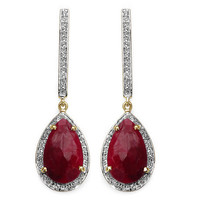 14K Yellow Gold Plated 10.96 Carat Genuine Dyed Ruby & White Topaz .925 Sterling Silver Earrings