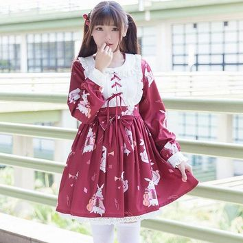 lolita lace dress 2017 new Japanese female clothing mori girls cute lolita retro instrument rabbit soft sister dress wj627