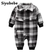 Plaid Baby Clothes Long Sleeve Lapel Baby Romper Double Layer Newborn Cotton Baby Costume Roupas Baby Boys Newborn Bebe Clothes