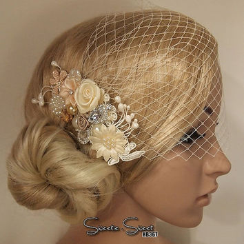SALE 40% OFF Bridal Veil, Wedding Veil, Bridal Comb, Face Veil, Birdcage Veil, mini veil, Blusher veil, Vintage Flower Fascinator, Head piec