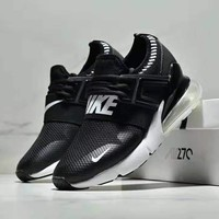 NIKE AIR MAX 270 Tide brand air cushion men's sports and leisure shoes running shoes Black+white