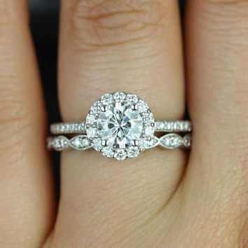 Marisol & Christie 14kt White Gold Round Halo FB Moissanite and Diamonds Wedding Set (Other metals and stone options available)