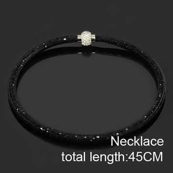 Chanfar 45CM Crystal Magnetic Clasp Mesh Choker Necklace For Women Jewelry