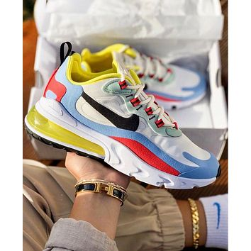 Nike Air Max 270 React New Fashion Contrast Color Shoes Women