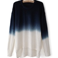 Gradient Color Round Neck Long-Sleeved Sweater