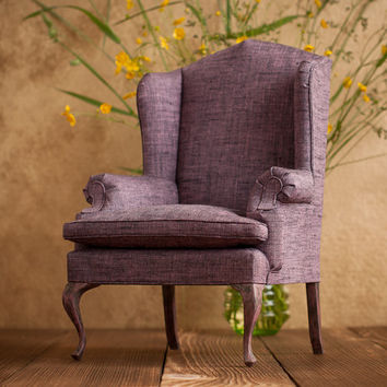 1/4 scale Doll Wing Chair with wood cabriole legs, Provence Style, Playscale armchair for BJDs and other dolls up to 45 cm (18 inches)
