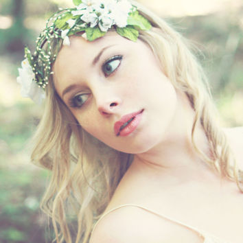 white bridal flower crown, spring flower head piece, wedding hair