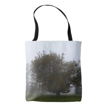 Foggy Fall Tree Tote Bag
